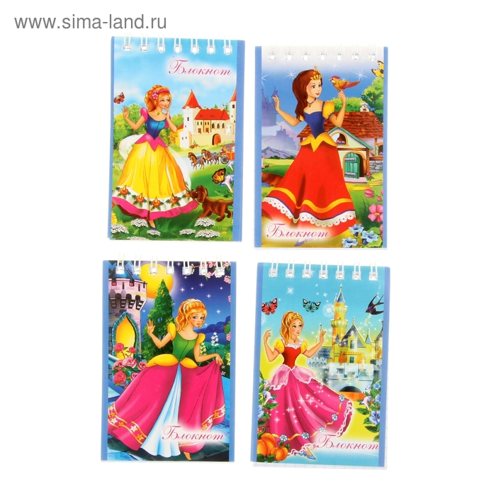 """Блокнот А7, 40 листов на гребне """"Мои принцессы"""", 4 вида МИКС"""