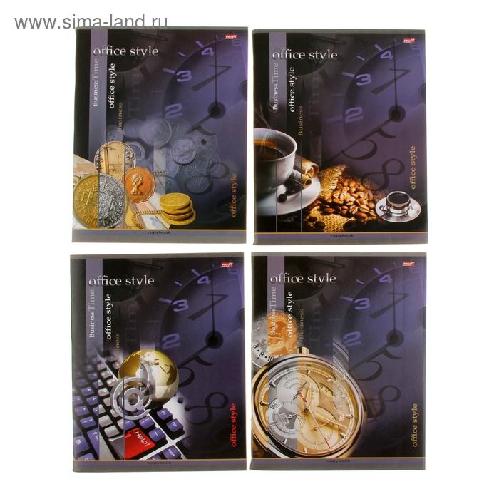 """Тетрадь 96 листов клетка """"Успешный бизнес"""", обложка картон хромэрзац, 4 вида МИКС"""