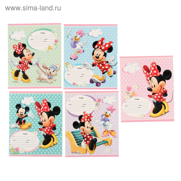 """Тетрадь 12 листов клетка Disney """"Минни и Микки-1"""", картонная обложка, лён, 5 видов МИКС"""