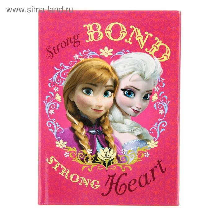 Записная книжка твёрдая обложка А6, 48 листов Disney. Холодное сердце-17, глянцевая ламинация
