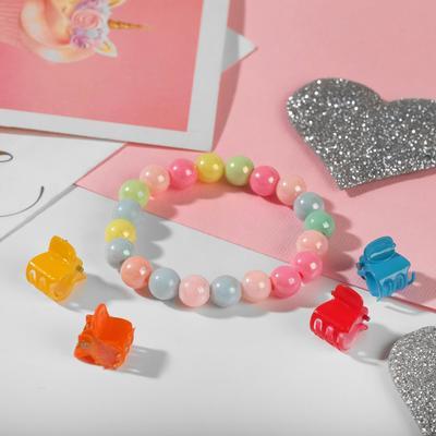 "Children set ""Vibracula"" of 5 items: 4 crab bracelet 2 strands, rainbow color MIX"