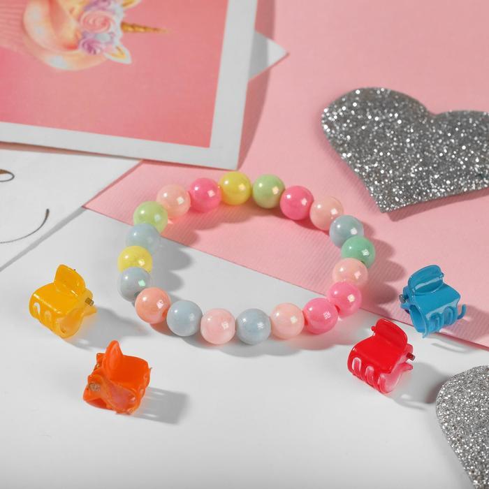 """Набор детский """"Выбражулька"""" 5 предметов: 4 крабика, браслет 2 нити, радуга, цвета МИКС"""