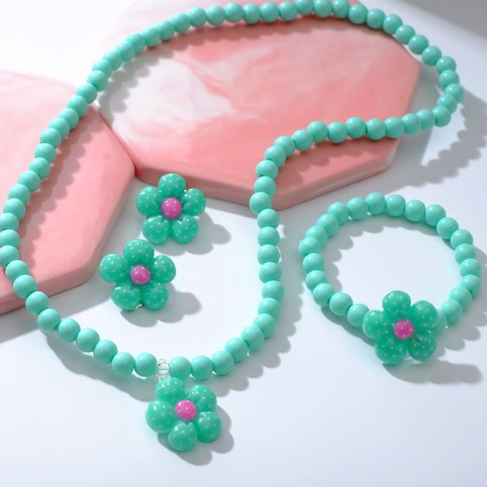 """Набор детский """"Выбражулька"""" 3 предмета: клипсы, кулон, браслет, цветок ромашки, цвета МИКС - фото 450067277"""