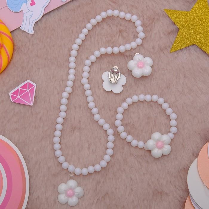 """Набор детский """"Выбражулька"""" 3 предмета: клипсы, кулон, браслет, цветок ромашки, цвета МИКС - фото 450067282"""