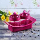 """Набор банок для сыпучих продуктов 200 мл с ложками """"Венеция"""", розовый"""