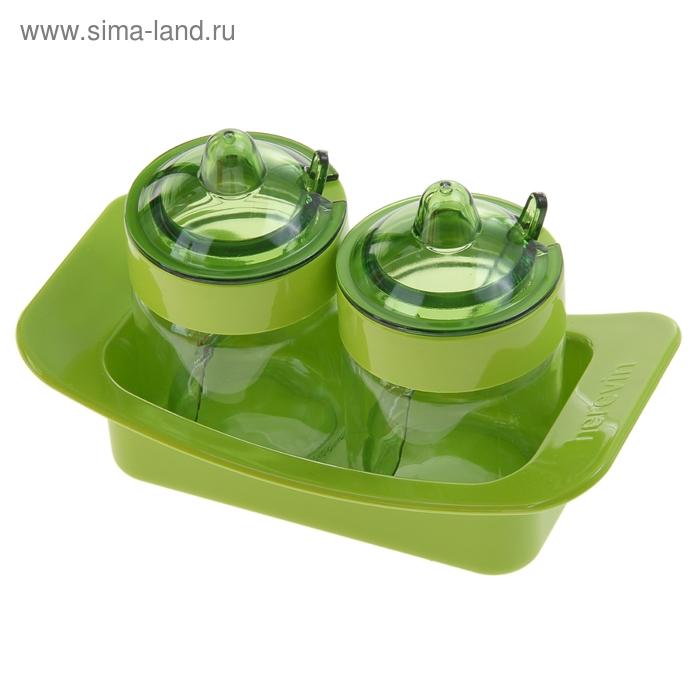 """Набор банок для сыпучих продуктов 200 мл с ложками """"Венеция"""", зеленый"""