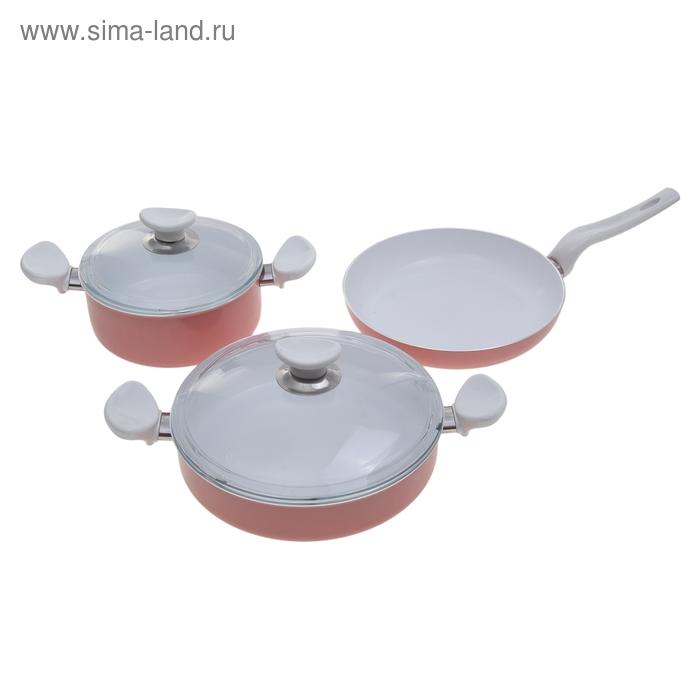 Набор посуды Teos, 3 предмета: кастрюля 3,2 л, жаровня 26 см, сковорода 26 см