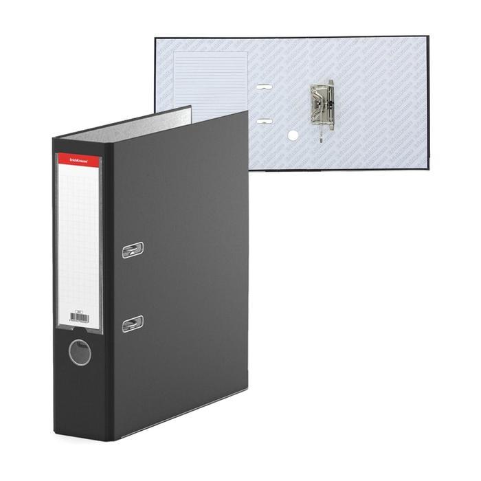 Папка-регистратор А4, 70 мм, «Бизнес», собранный, чёрный, пластиковый карман, металлический кант, картон 2 мм, вместимость 450 листов