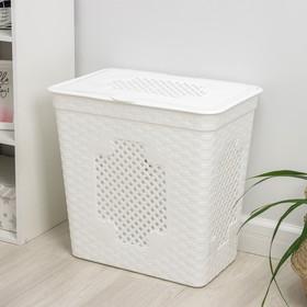 Корзина для белья с крышкой «Плетёнка люкс», 85 л, 58×39×57 см, цвет белый - фото 4637233