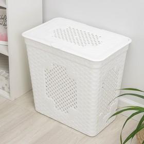 Корзина для белья с крышкой «Плетёнка люкс», 85 л, 58×39×57 см, цвет белый - фото 4637234