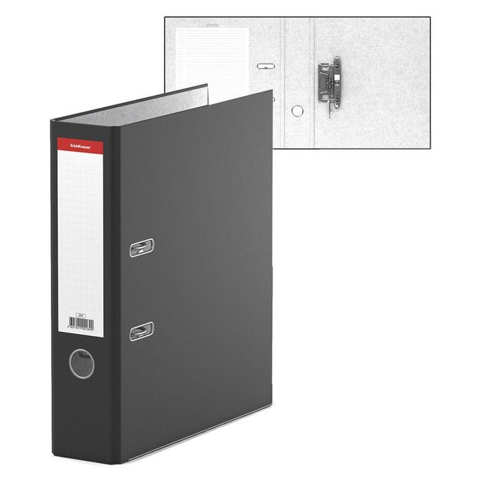 Папка-регистратор А4, 70 мм, «Стандарт», собранный, чёрный, этикетка на корешке, металлический кант, картон 2 мм, вместимость 450 листов