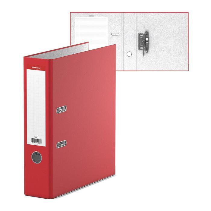 Папка-регистратор А4, 70 мм, «Стандарт», собранный, красный, этикетка на корешке, металлический кант, картон 2 мм, вместимость 450 листов