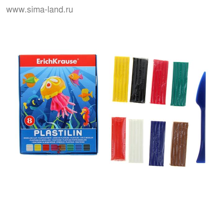 Пластилин 8 цветов 144гр, со стеком, в коробке, EK 36903