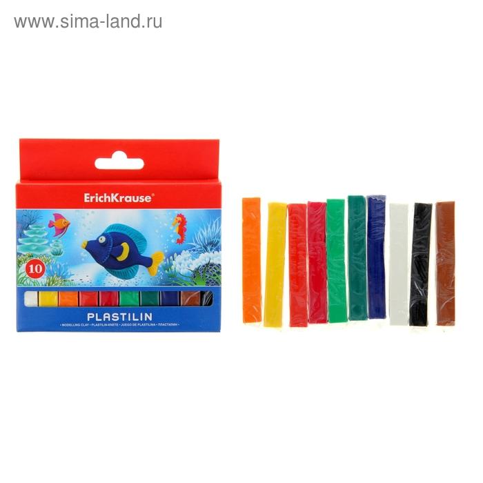 Пластилин 10 цветов 150гр, картон с европодвесом, EK 31056