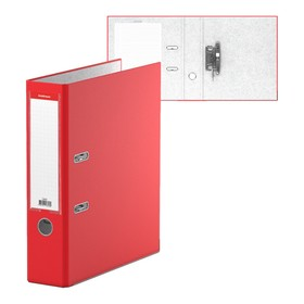 """Папка-регистратор А4, 70мм """"Бизнес"""", собранный, красный, пластиковый карман, металлический кант, картон 2мм, вместимость 450 листов"""