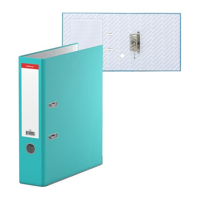"""Папка-регистратор А4, 70мм """"Стандарт"""", собранный, бирюзовый, этикетка на корешке, металлический кант, картон 2мм, вместимость 450 листов"""