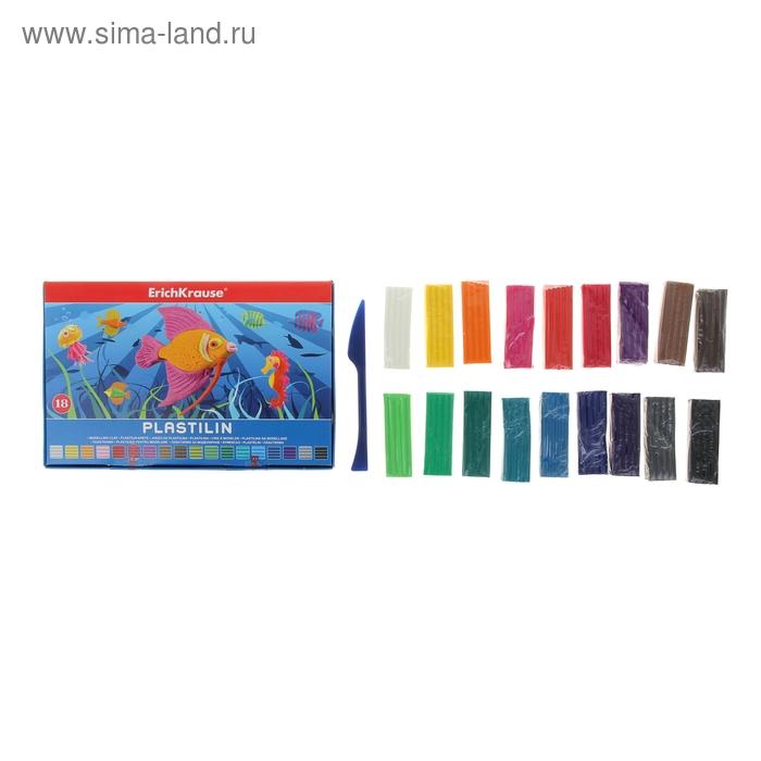 Пластилин 18 цветов 324гр, со стеком, в коробке, EK 36902