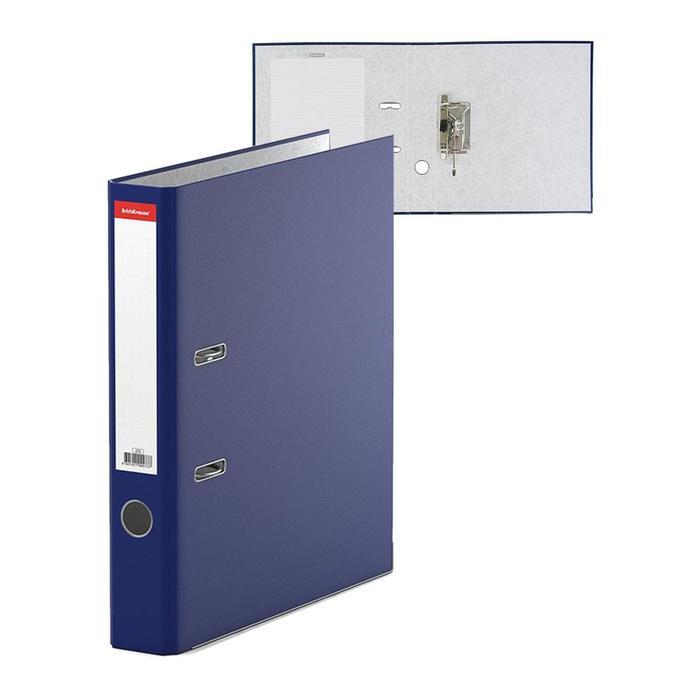Папка-регистратор А4, 50 мм, «Стандарт», собранный, синий, этикетка на корешке, металлический кант, картон 2 мм, вместимость 350 листов