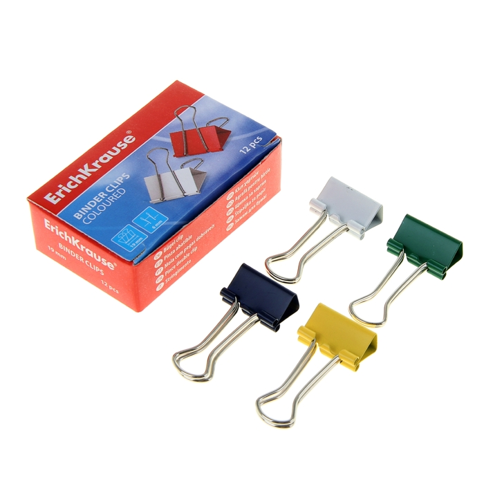 Набор зажимов для бумаг 19 мм, 12 штук в картонной коробке, цветные Erich Krause