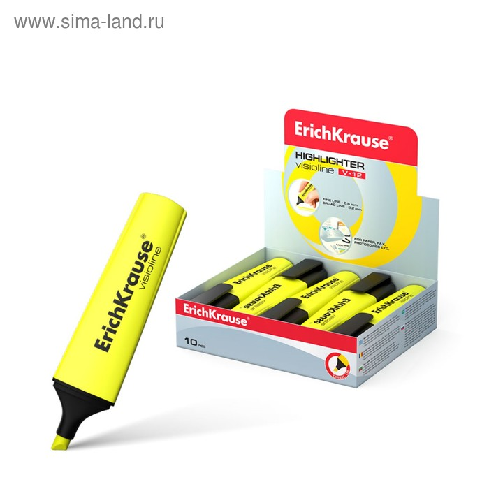 Маркер текстовыделитель 5.0 Erich Krause V-12 жёлтый