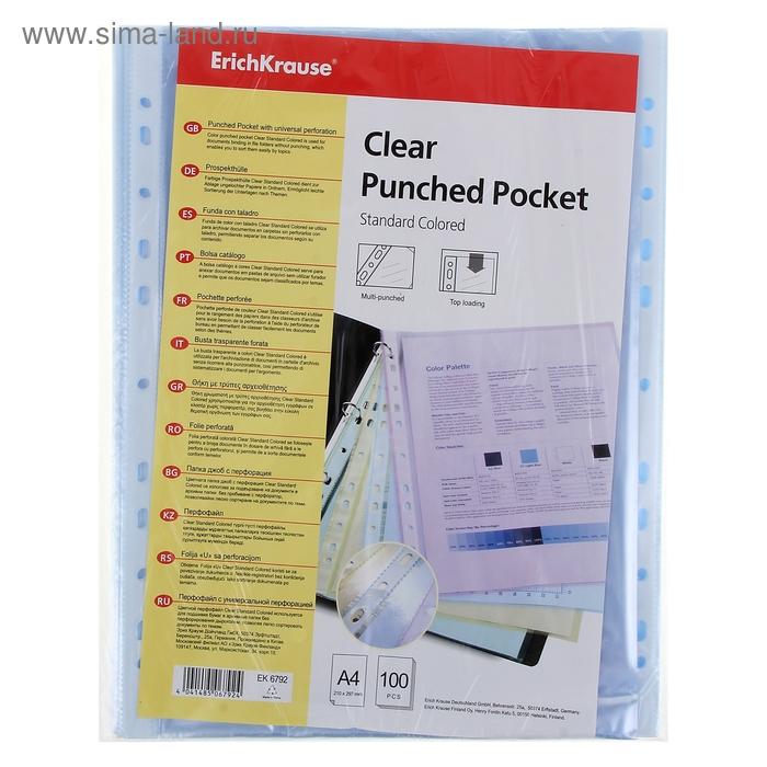 Файл-вкладыш А4 30мкм Clear Standard цветной, упаковка 100 штук EK 6792