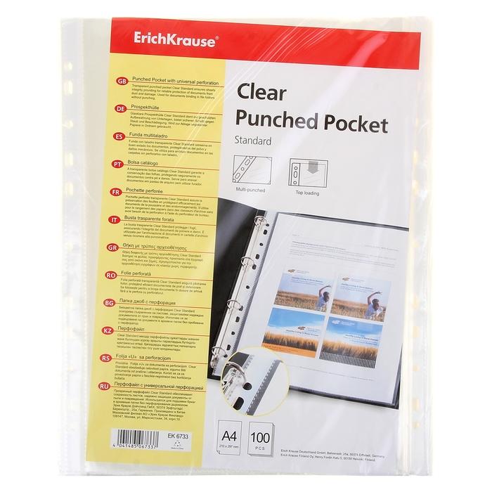 Файл-вкладыш А4, 30мкм Erich Krause Clear Standard, прозрачный, упаковка 100 штук