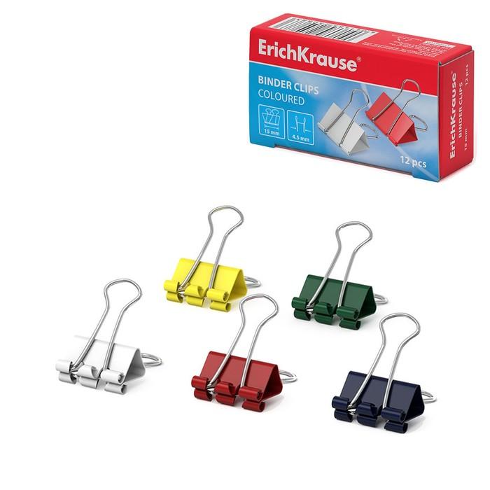 Набор зажимов для бумаг 15 мм, 12 штук в картонной коробке, цветные Erich Krause
