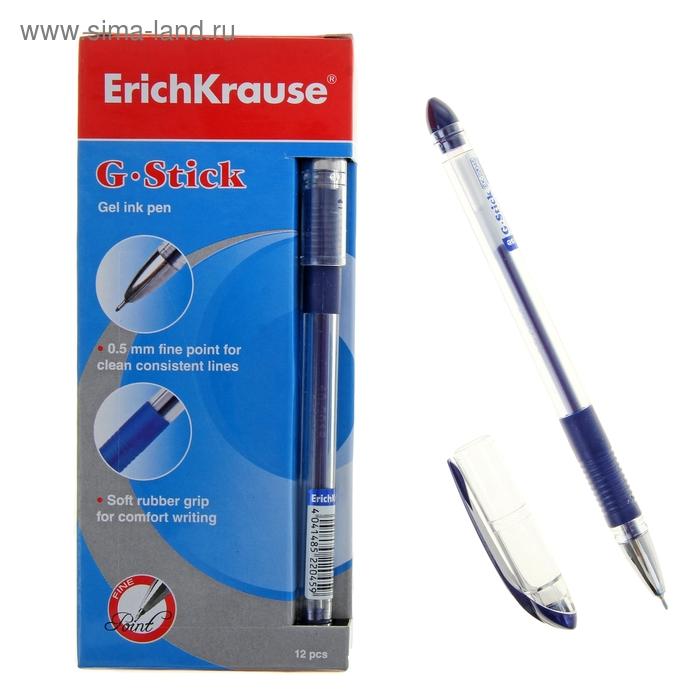 Ручка гелевая стандарт резиновый упор Erich Krause G-STICK узел-игла 0.5мм, стержень синий EK 22045