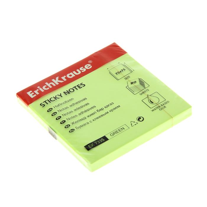 Блок бумаги с липким краем 75х75мм Erich Krause NEON зеленый, 80 листов