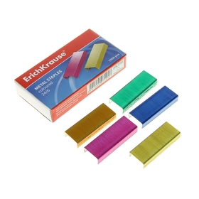 Скобы для степлера Erich Krause, №24/6, цветные, 1000 штук