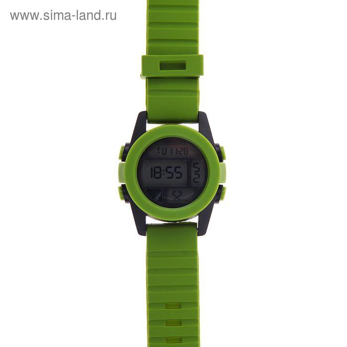 Часы наручные мужские электронные функциональные на силиконовом ребристом ремешке, цвет зеленый