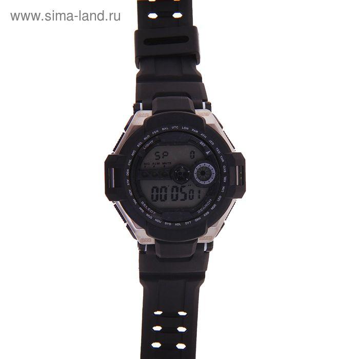 Часы наручные мужские электронные с подсветкой на силиконовом ремешке с двойной застежкой, цвет черный