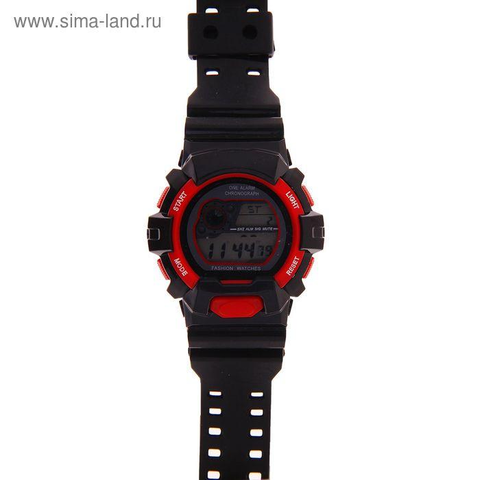 Часы наручные мужские электронные функциональные на силиконовом ремешке, круглый циферблат, цвет черный с красным