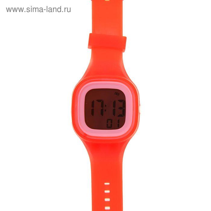 Часы наручные женские с подсветкой на силиконовом ремешке, цвет красный