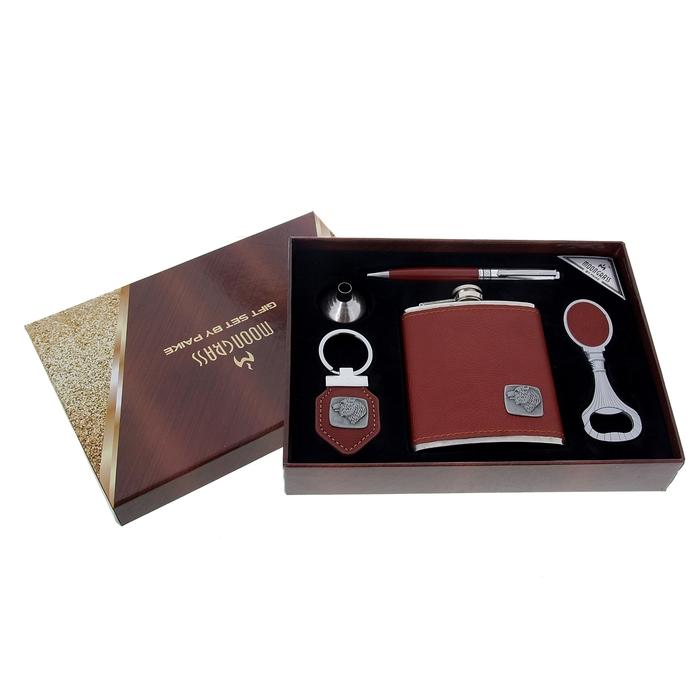 """Подарочный набор 5 в 1 """"Медведь"""": фляжка 210 мл + брелок, воронка, ручка, открывалка"""