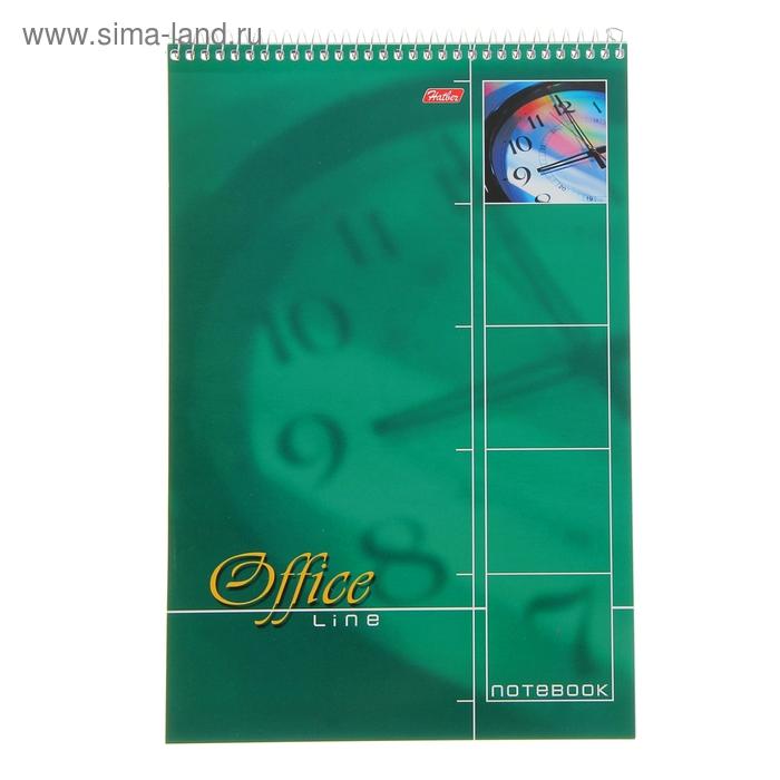 Блокнот А4, 60 листов на гребне Office Line Зеленый, жесткая подложка