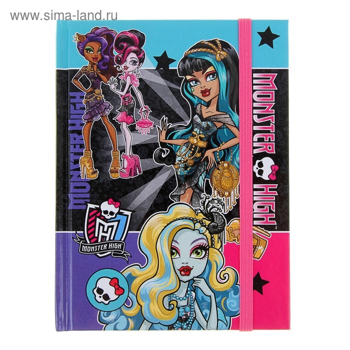 """Блокнот твердая обложка А6, 80 листов """"Школа Монстров (Monster High)"""", на резинке"""