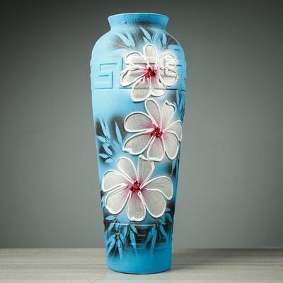 """Ваза напольная """"Арго"""" цветы, синяя, 65 см"""