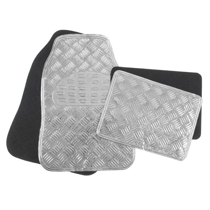 Набор ковриков для авто 4 шт, 64х43 и 45х33, глянец металлик серый