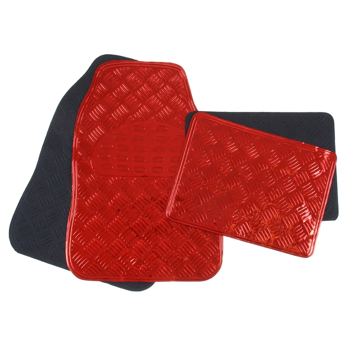 Набор ковриков для авто 4 шт, 64х43 и 45х33, глянец металлик красный