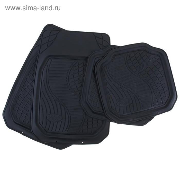 Набор ковриков для авто резин. 4 шт №01, чёрный