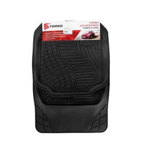 A set of rubber carpets in the vehicle interior 4 PCs, 70x50 cm, 50x49 cm, black.