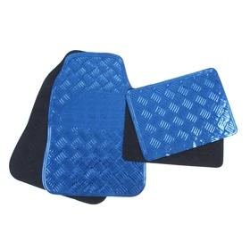 Набор резиновых ковров в салон автомобиля 4 шт, 64x43 см и 45х33 см, синий