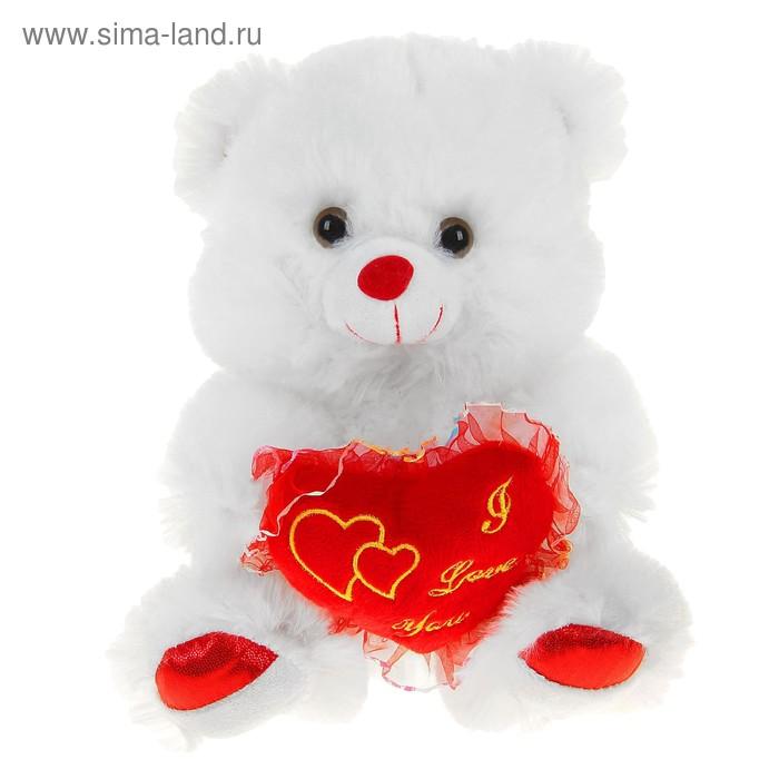 """Мягкая игрушка """"Мишка белый"""", сердце ажурное"""