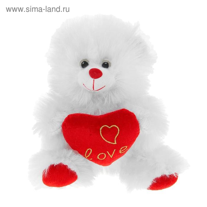 """Мягкая игрушка """"Мишка c красным сердцем"""", цвет белый"""
