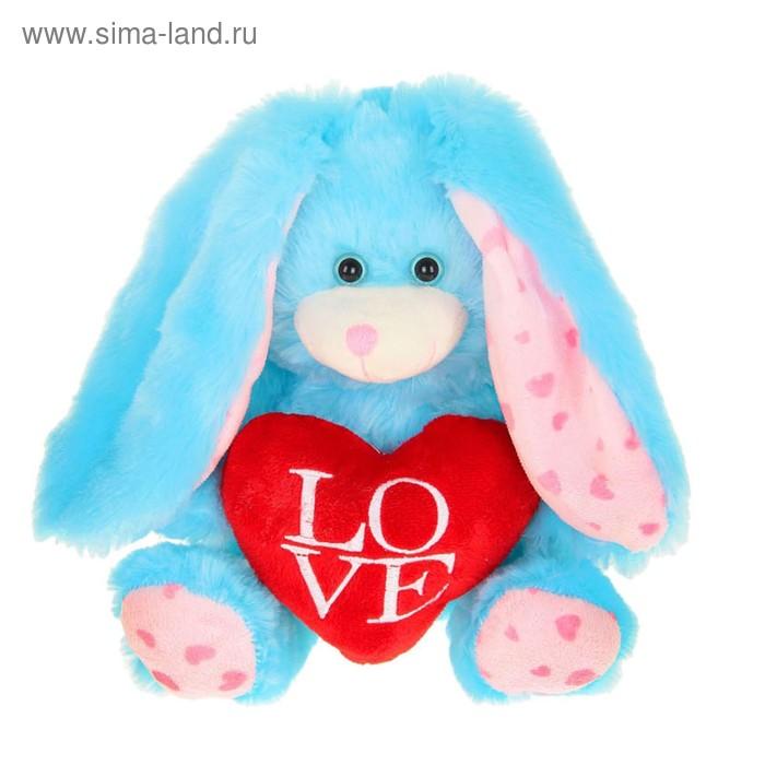"""Мягкая игрушка """"Зайка с сердцем LOVE"""", длинные ушки, цвета МИКС"""