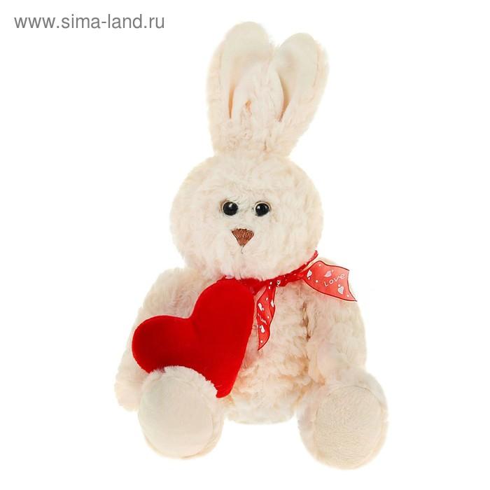 """Мягкая игрушка """"Зайка букле"""", на боку сердце, цвета МИКС"""