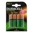 Аккумулятор Duracell, АА, HR6-4BL, 1300 mAh, блистер, 4 шт.