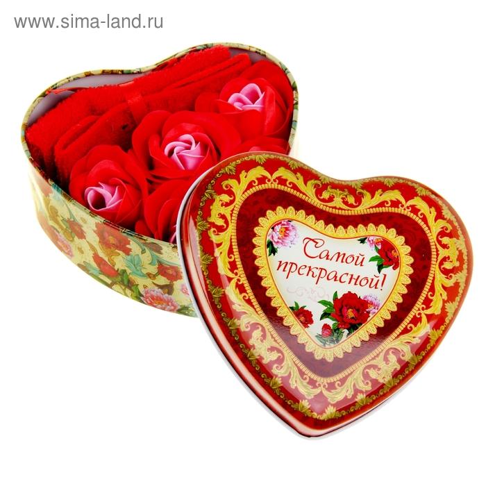 """Набор мыльные лепестки 5 шт + полотенце красное в шкатулке сердце большом """"Самой прекрасной"""""""