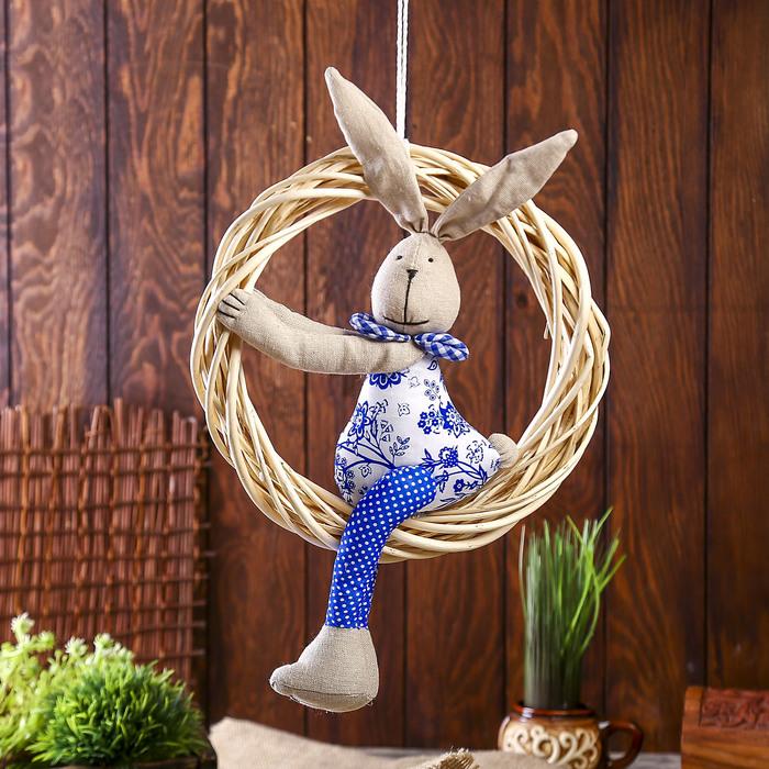 """Декор подвесной """"Заяц сидит в кольце"""""""